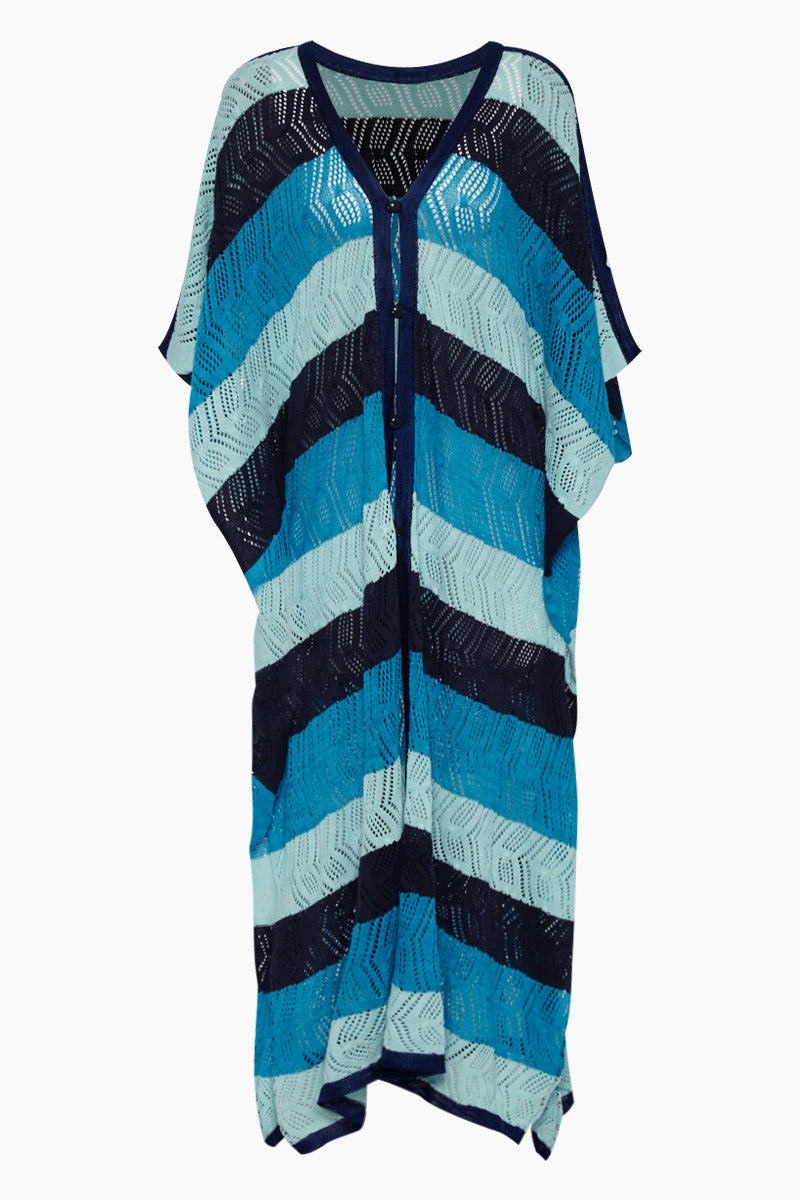 Ibiza Button Front Kaftan - Navy Blue/Aqua Blue/Mint Green Stripe Print