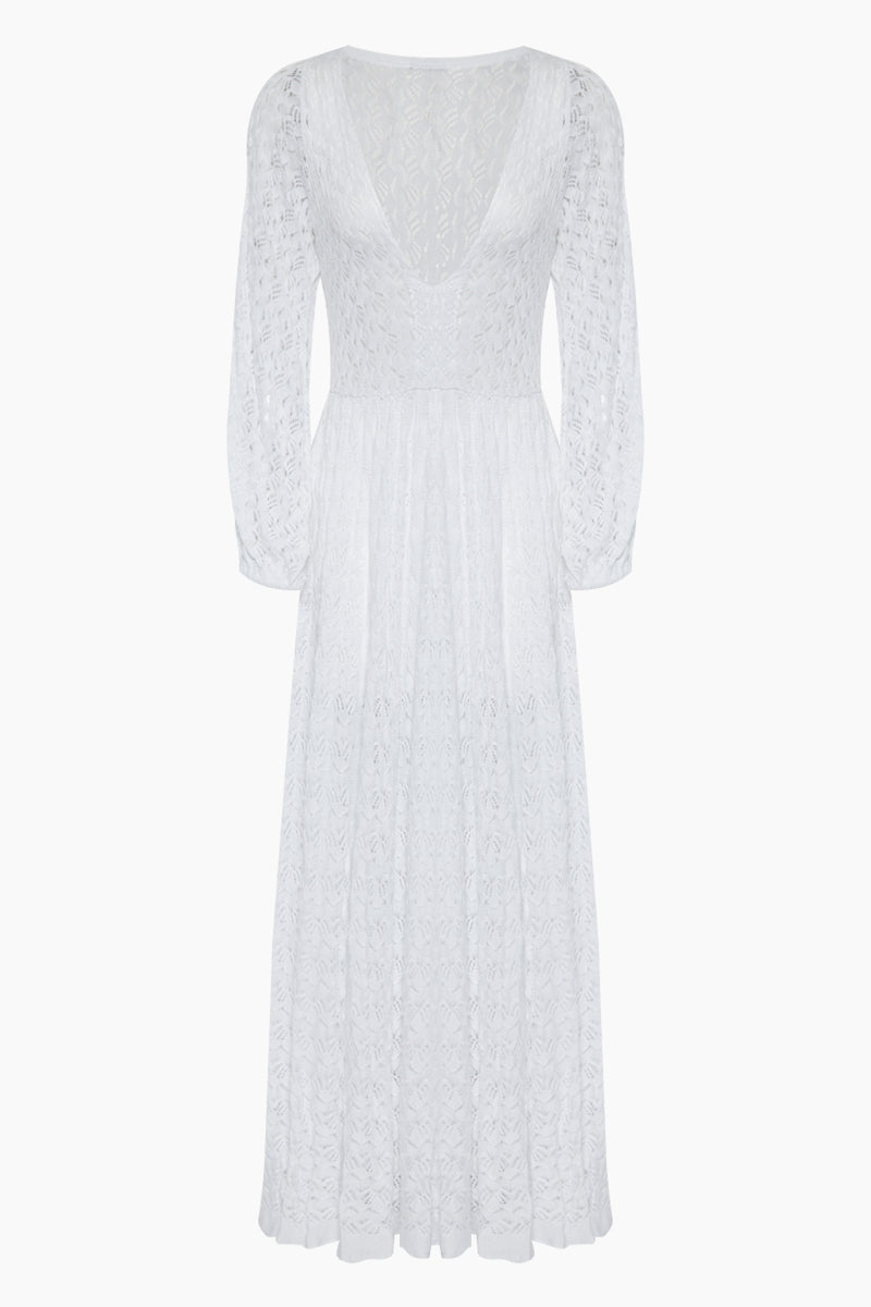 Los Cabos Open Long Sleeve Maxi Dress - White