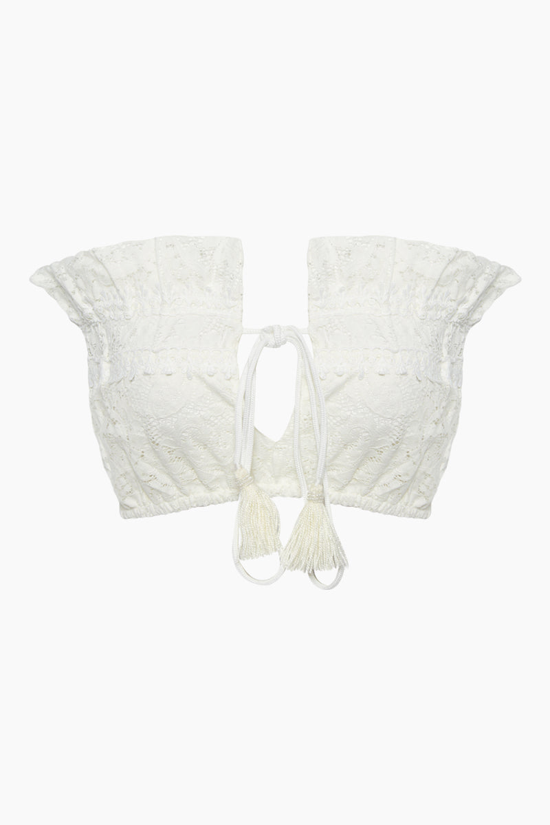 IMG 8224 Marilyn Lace Ruffle Front Tie Tube Top 8211 White