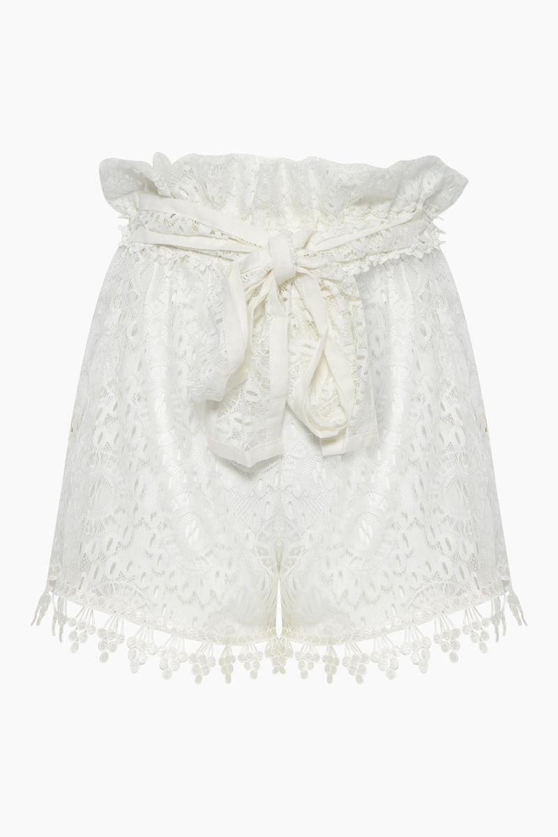 Cindy Lace Belted High Waist Shorts - Ivory White