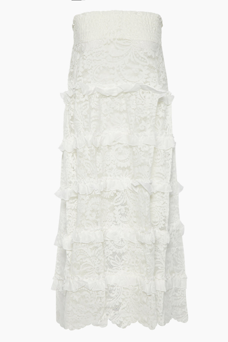 Marilyn Ruffle Lace Long Skirt - White