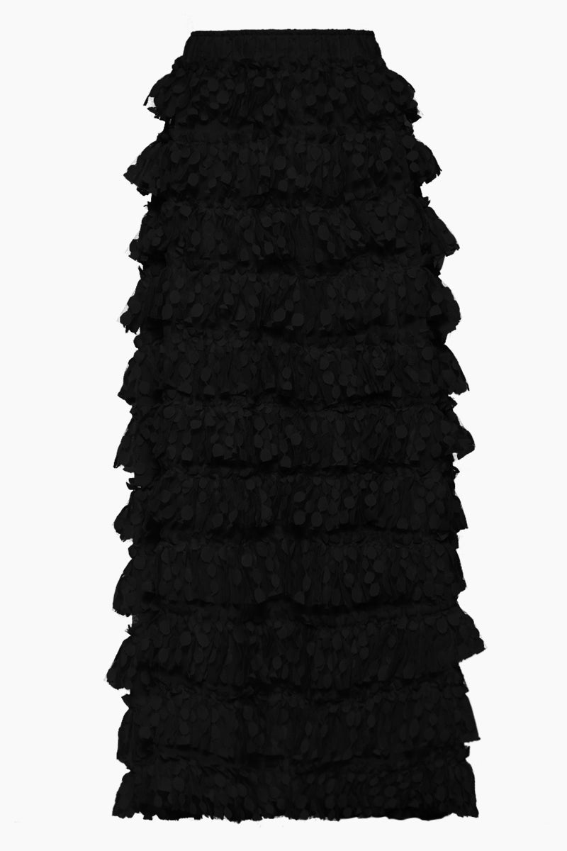 Linda Spot Net Ruffle Long Skirt - Black