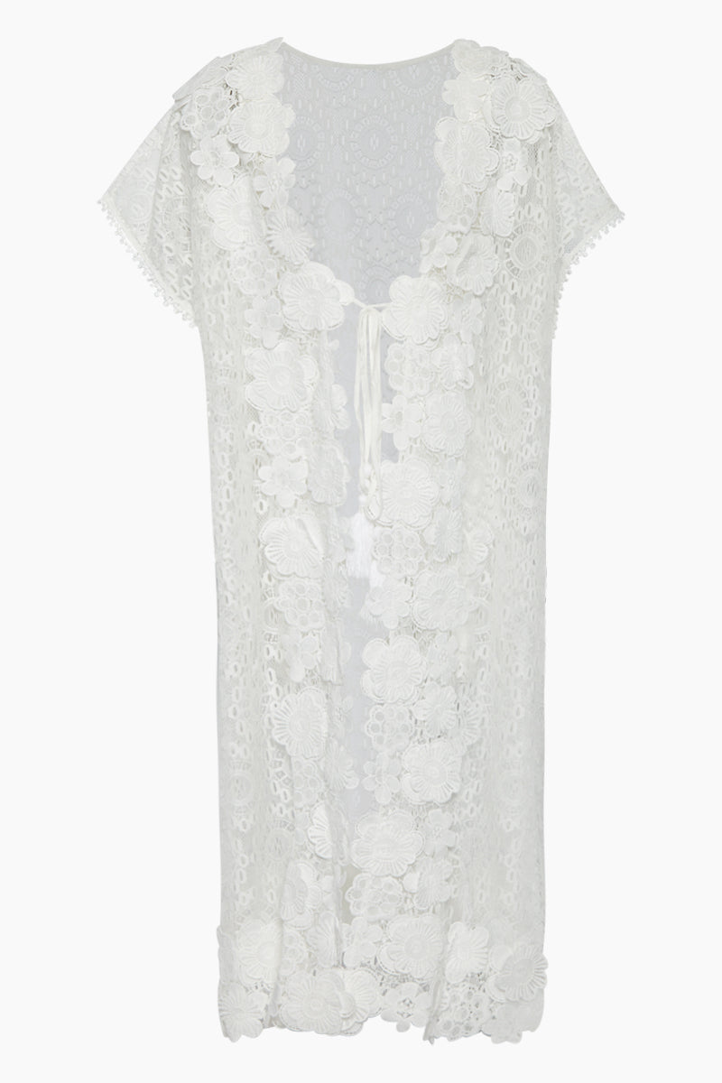 Carla Guipure Lace Cover-Up Kaftan Dress - Ivory White