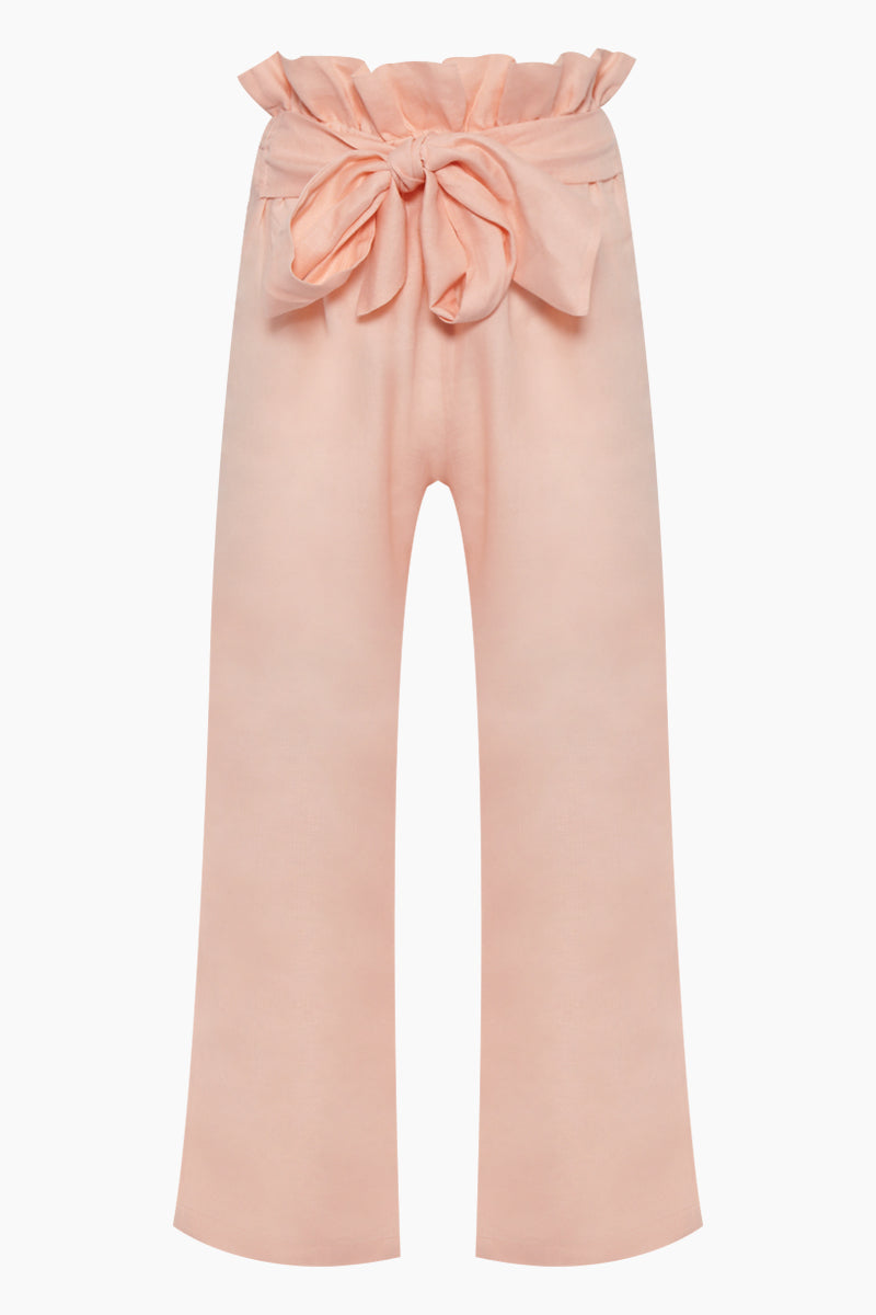 Gigi Linen High Waist Pants - Blush Pink