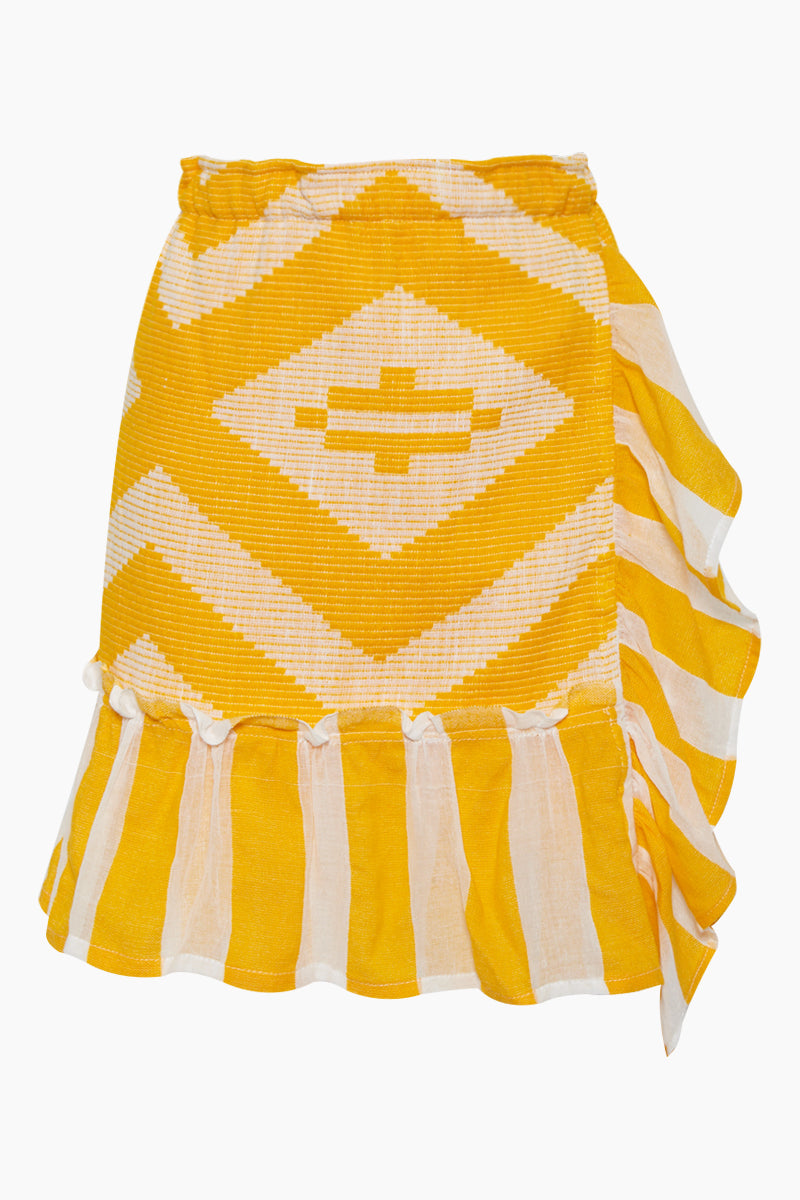 Biruhi Wrap Skirt - Yellow Multi Pattern Print