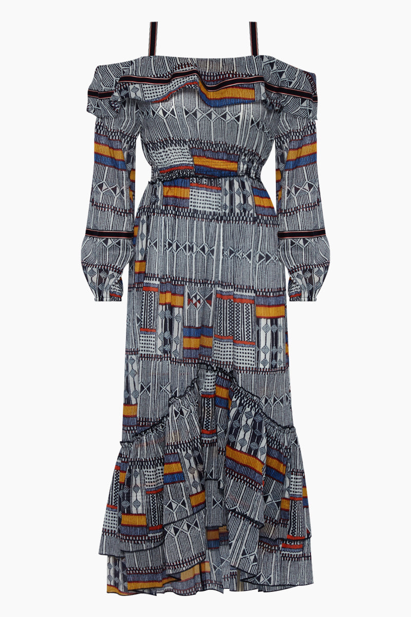 Kente Lisa Off Shoulder Ruffle Maxi Dress - Navy Abstract Print