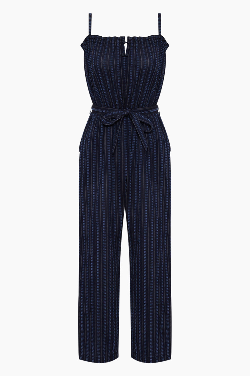 Abha Belted Jumpsuit - Navy Stripe Print