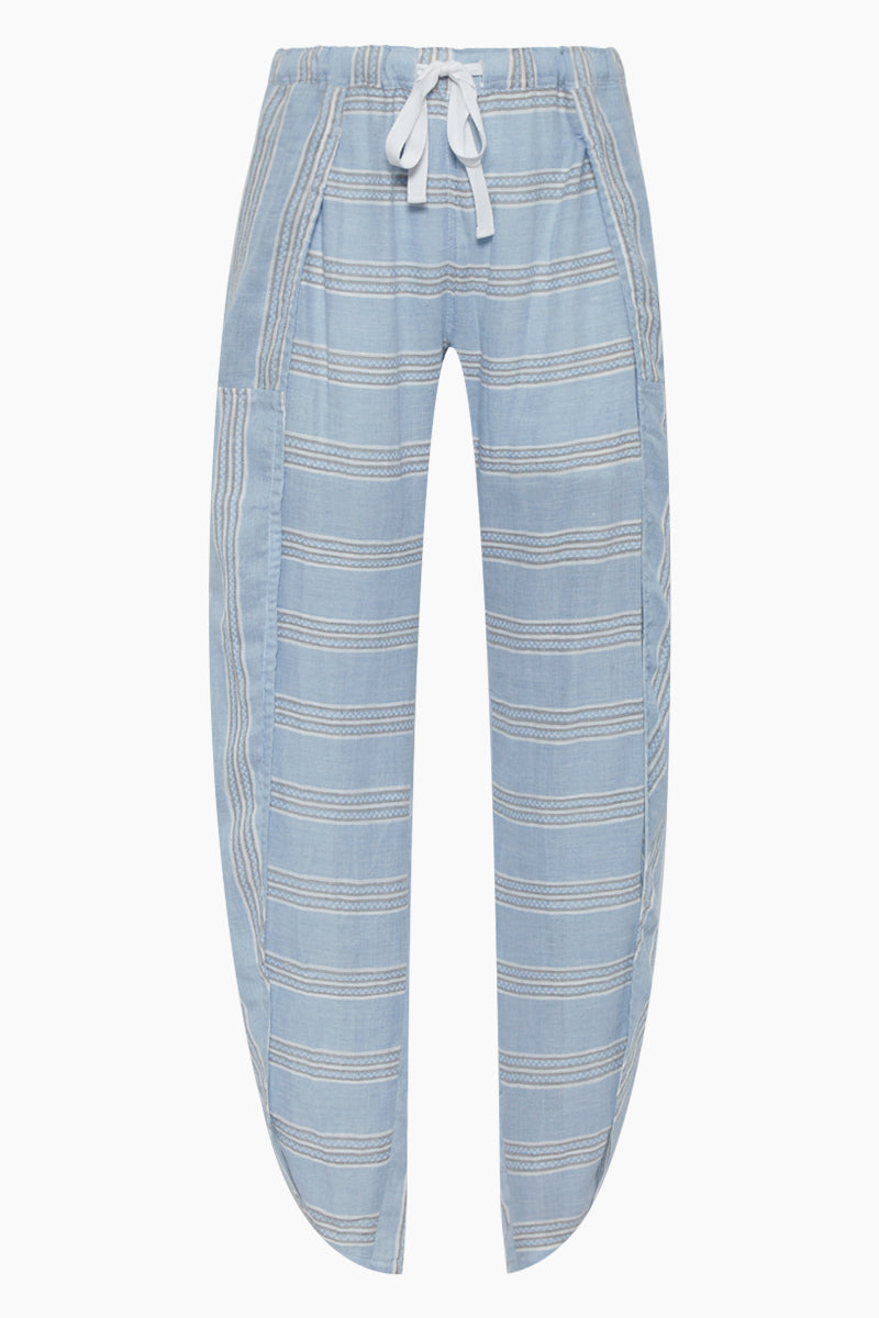 Riban Fly Away Pants - Light Blue Stripe Print