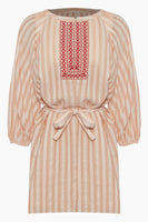Tie Waist Waistline Button Front Belted Embroidered Keyhole Short Puff Sleeves Sleeves Vertical Stripe Print Beach Dress