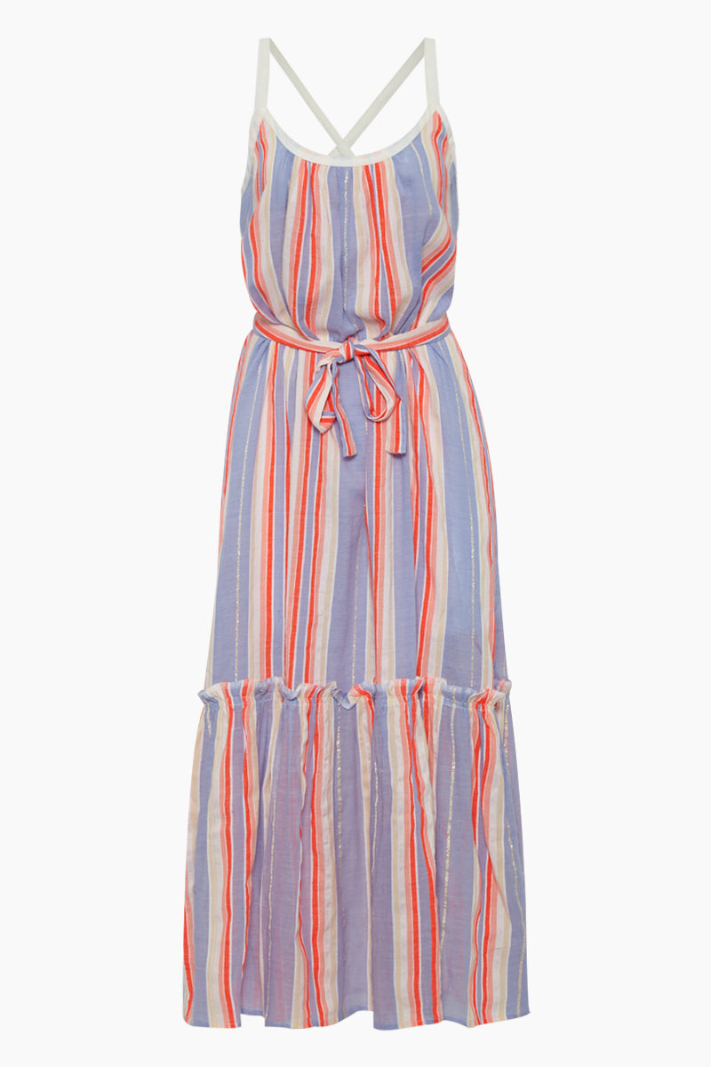 Fiesta Sun Maxi Dress - Lavender & Orange Stripe Print