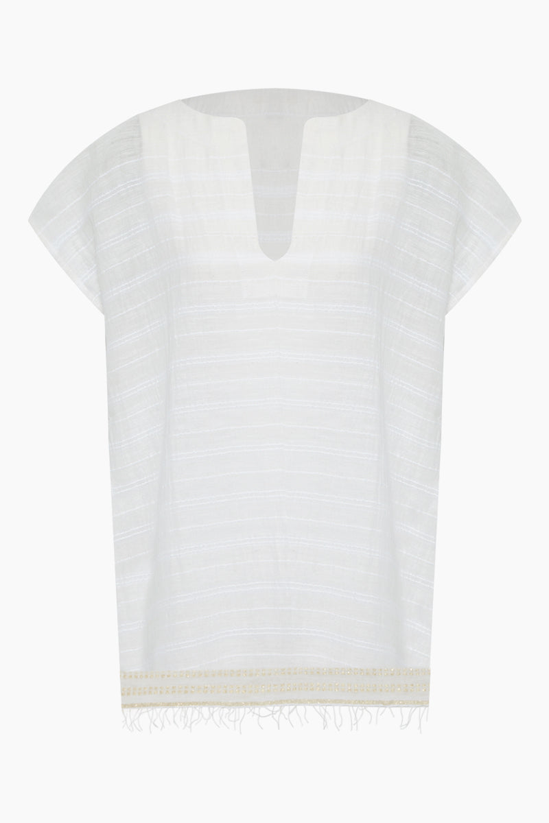 Kelali V Neck Short Sleeve Dress - White