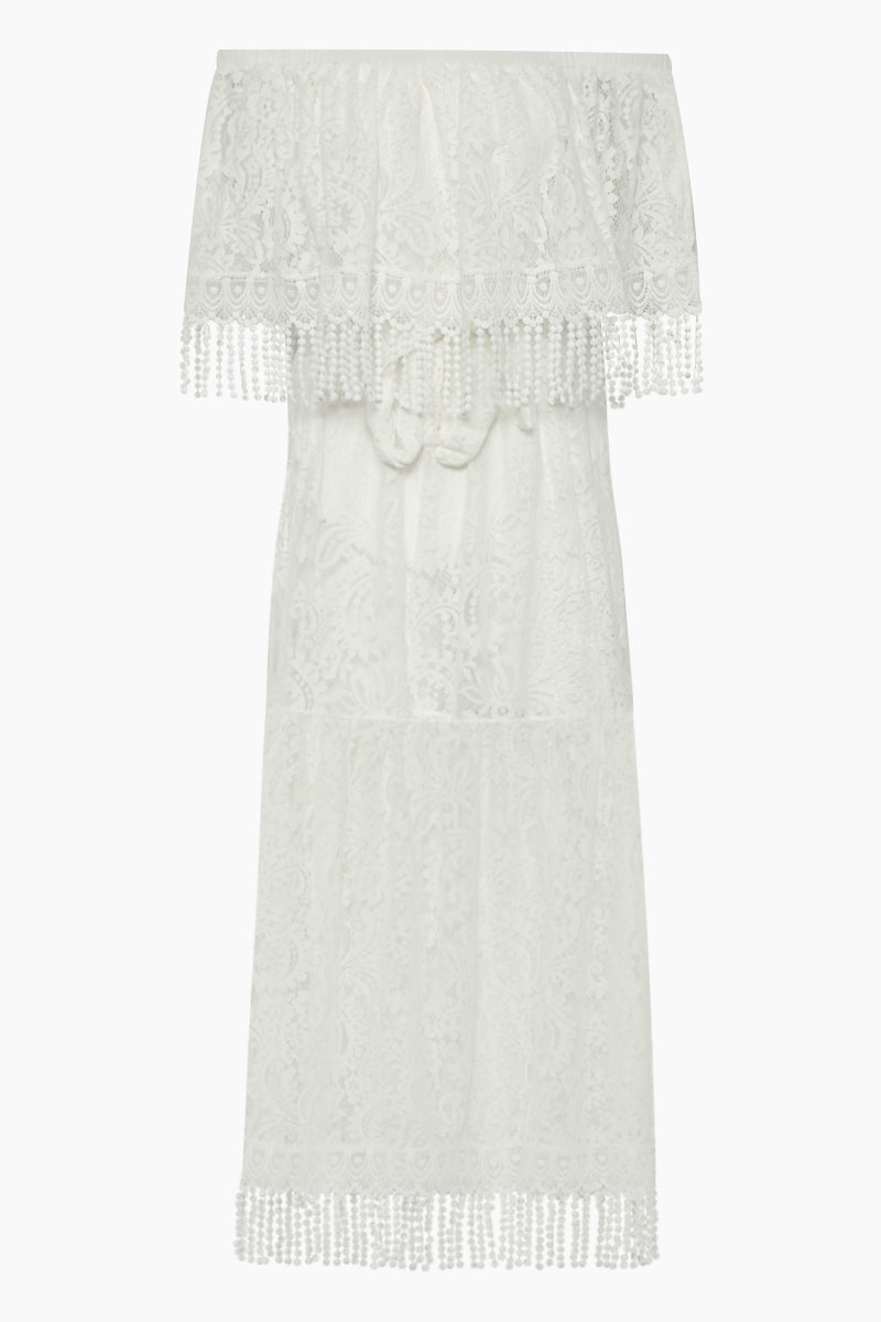 Prado Off Shoulder Lace Long Dress - White