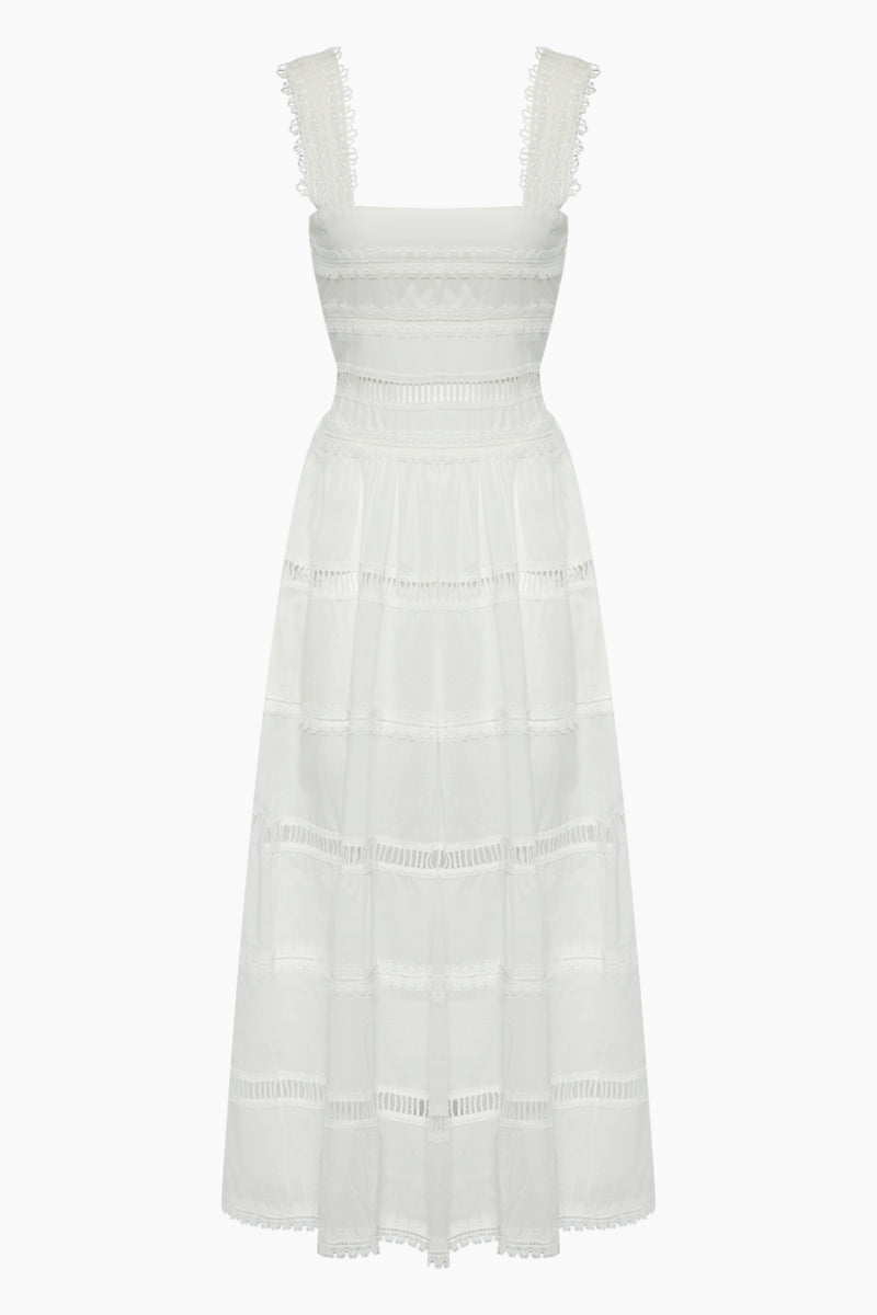 Kate Lace Cotton Maxi Dress - White