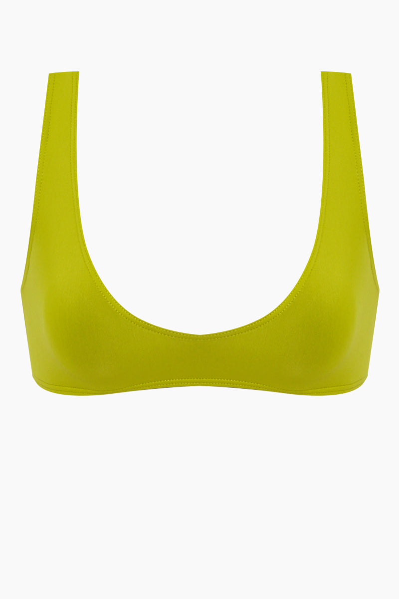 The Laeti Bralette Bikini Top - Chartreuse Green