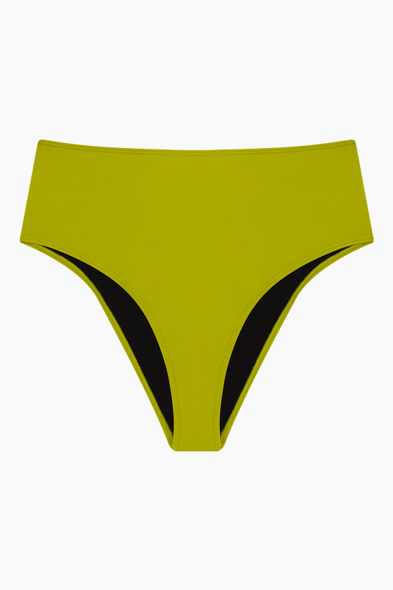 The Anna High Waist Bikini Bottom - Chartreuse Green