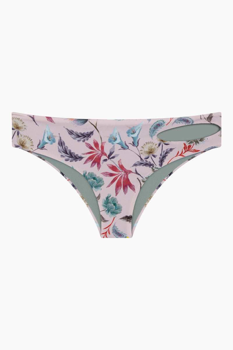 Ava Reversible Hipster Cheeky Bikini Bottom - Pink Floral Print/Olive Gray