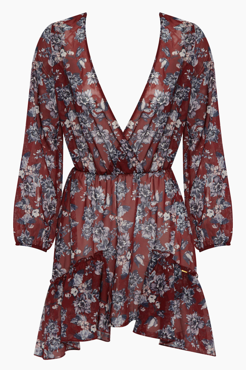 Boheme Long Sleeve V Neck Dress - Red Floral Print