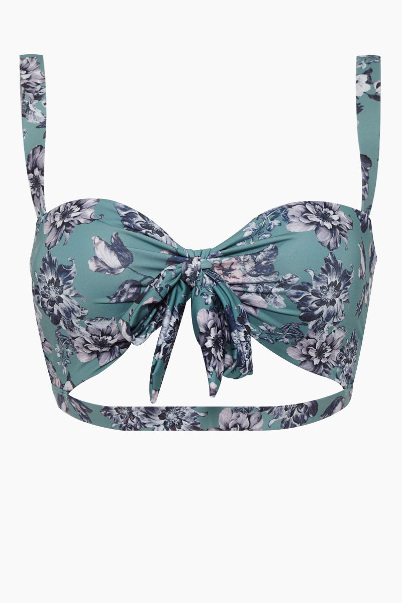 Honore Reversible Front Knot Bikini Top - Green Floral Print/Red Floral Print