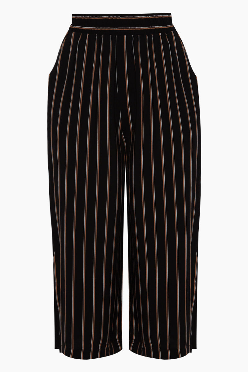 One Eighty Culotte Pants - Black Stripe Print