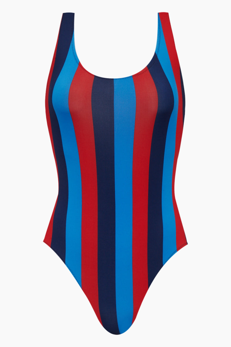The Anne-Marie Classic One Piece Swimsuit - South Hamptons Red & Blue Stripe Print