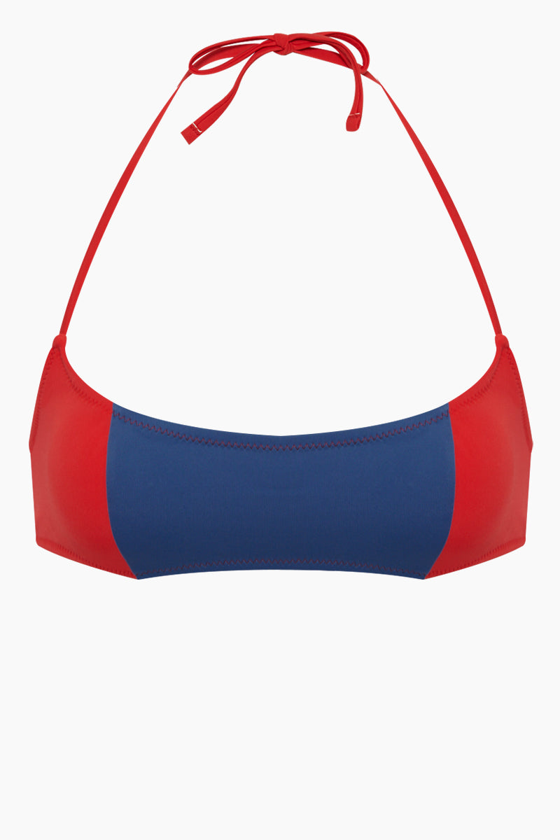 The Jessica Color Block Bikini Top - Red Slate