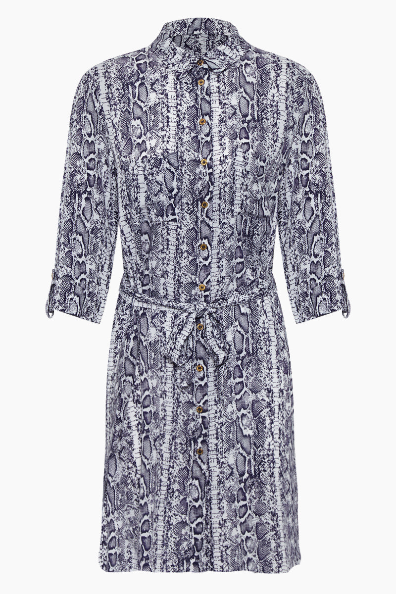 Relaxed Shirt Dress - Blue Animal Print