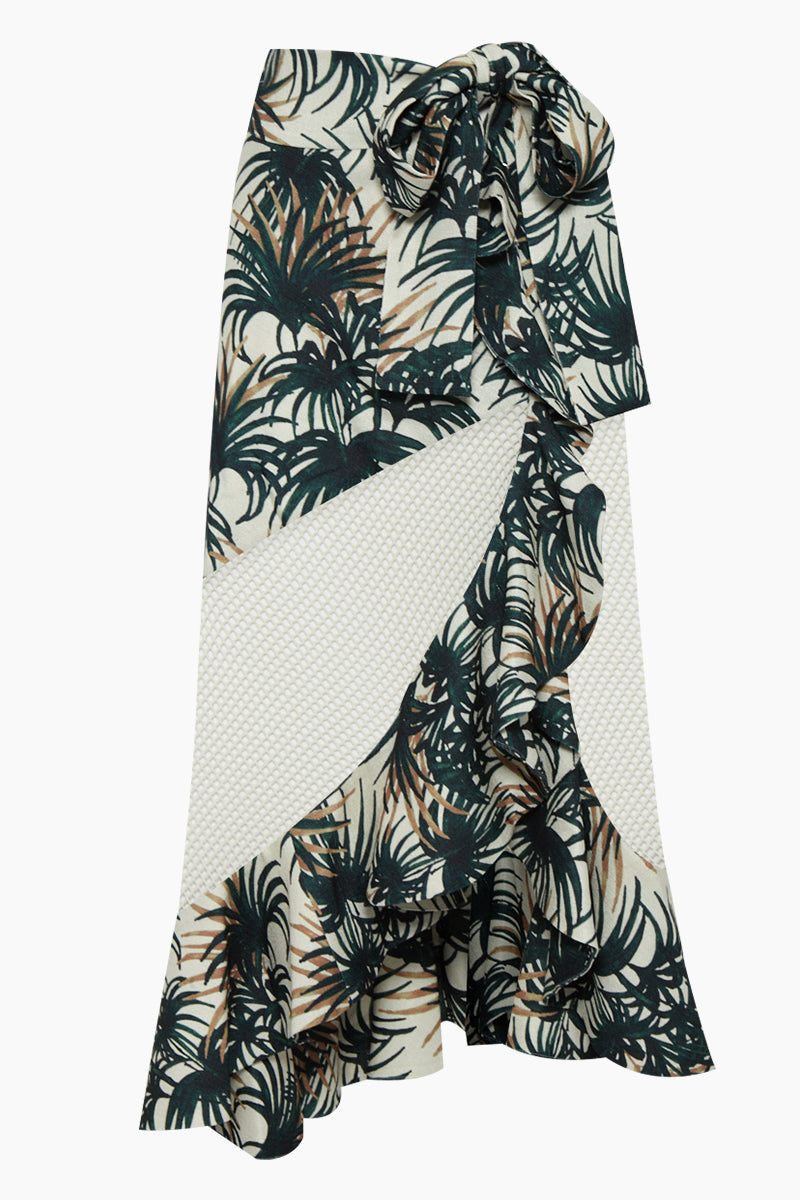 Wrap Mesh Midi Skirt - Ivory White & Green Palm Print