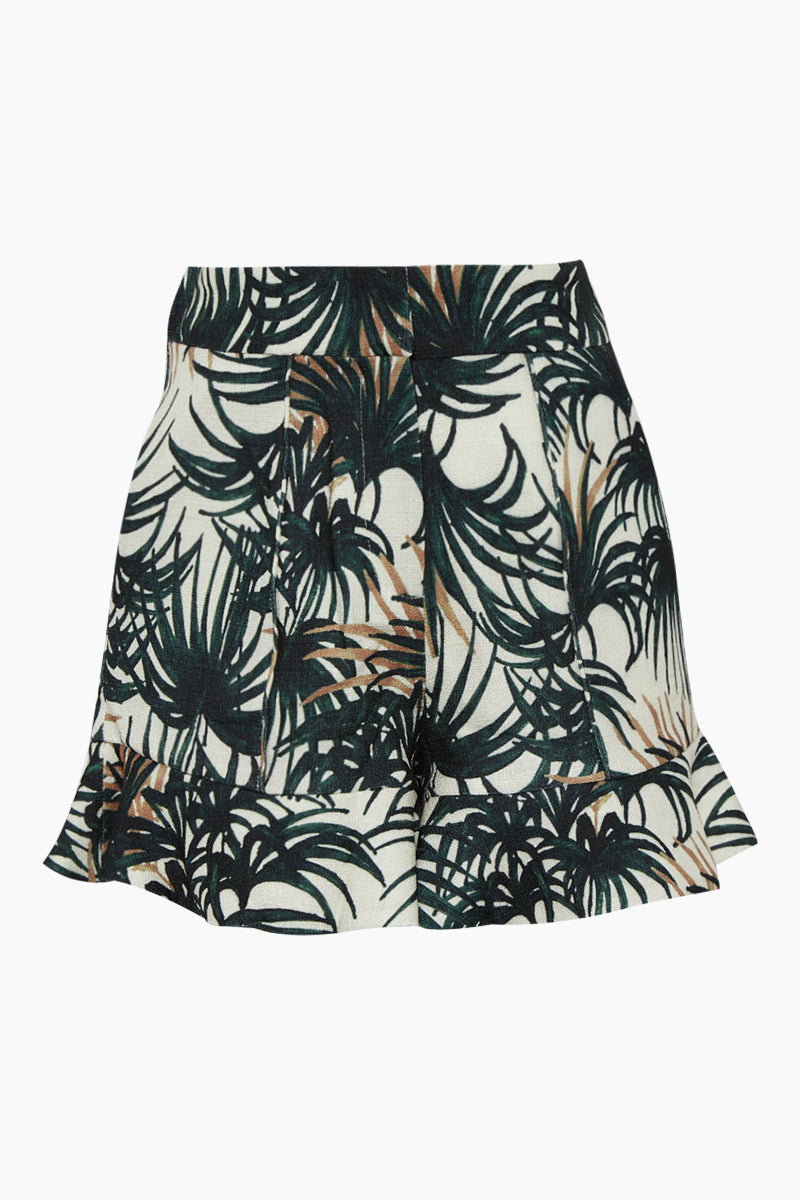 Ruffle High Waist Shorts - Ivory White & Green Palm Print