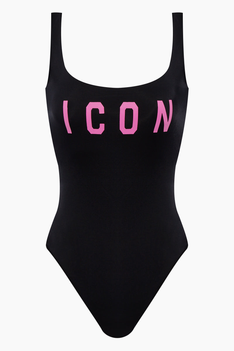 Icon Low Back One Piece Swimsuit - Black/Fuchsia Pink