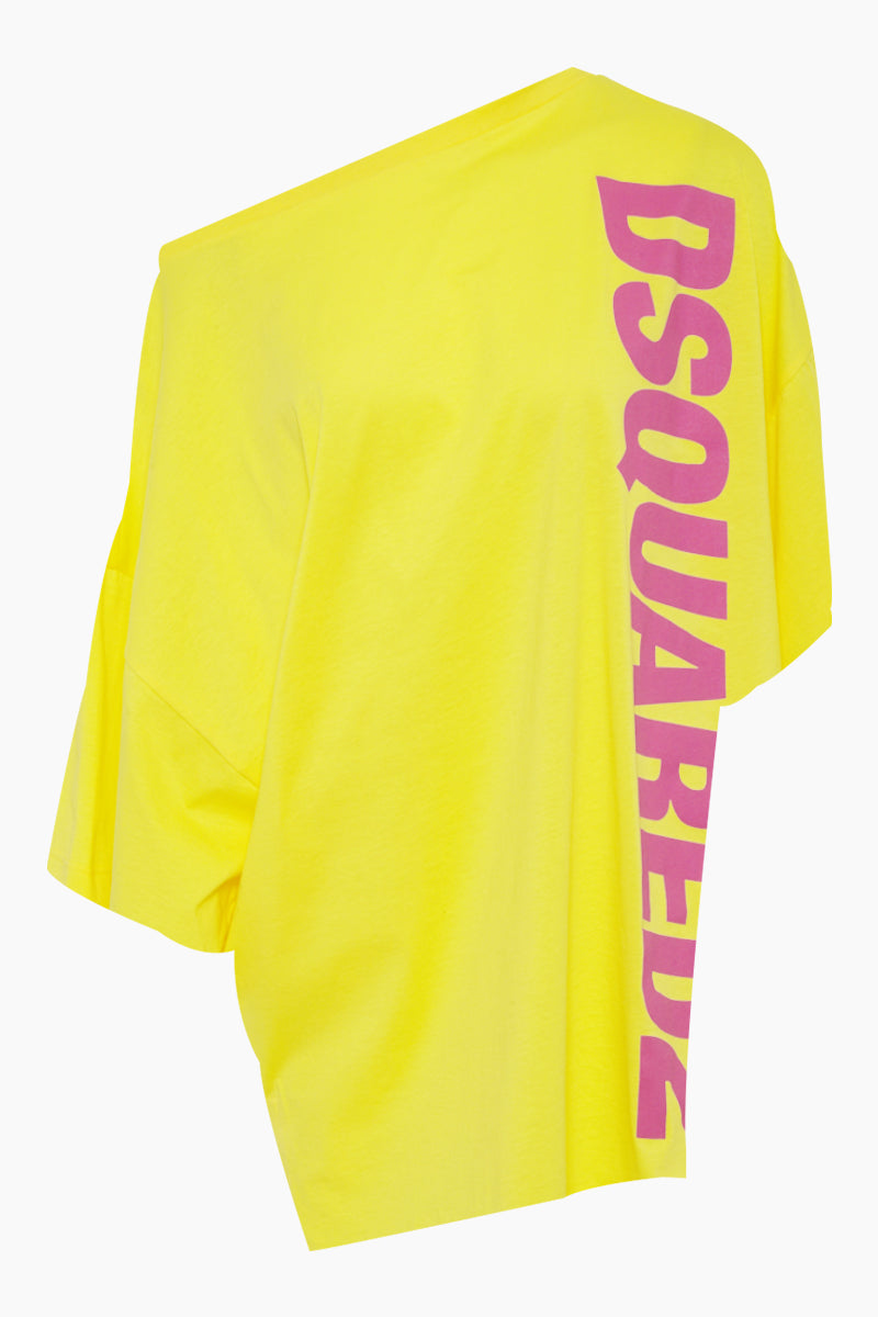 Side Logo Asymmetric Short Kaftan - Yellow/Fuchsia Pink