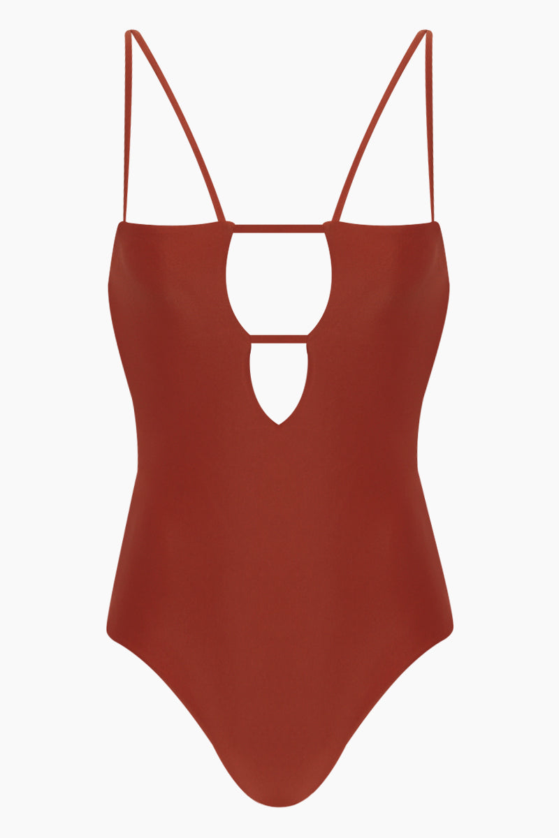 Tali Front Cut-Outs One Piece Swimsuit - Copper Orange