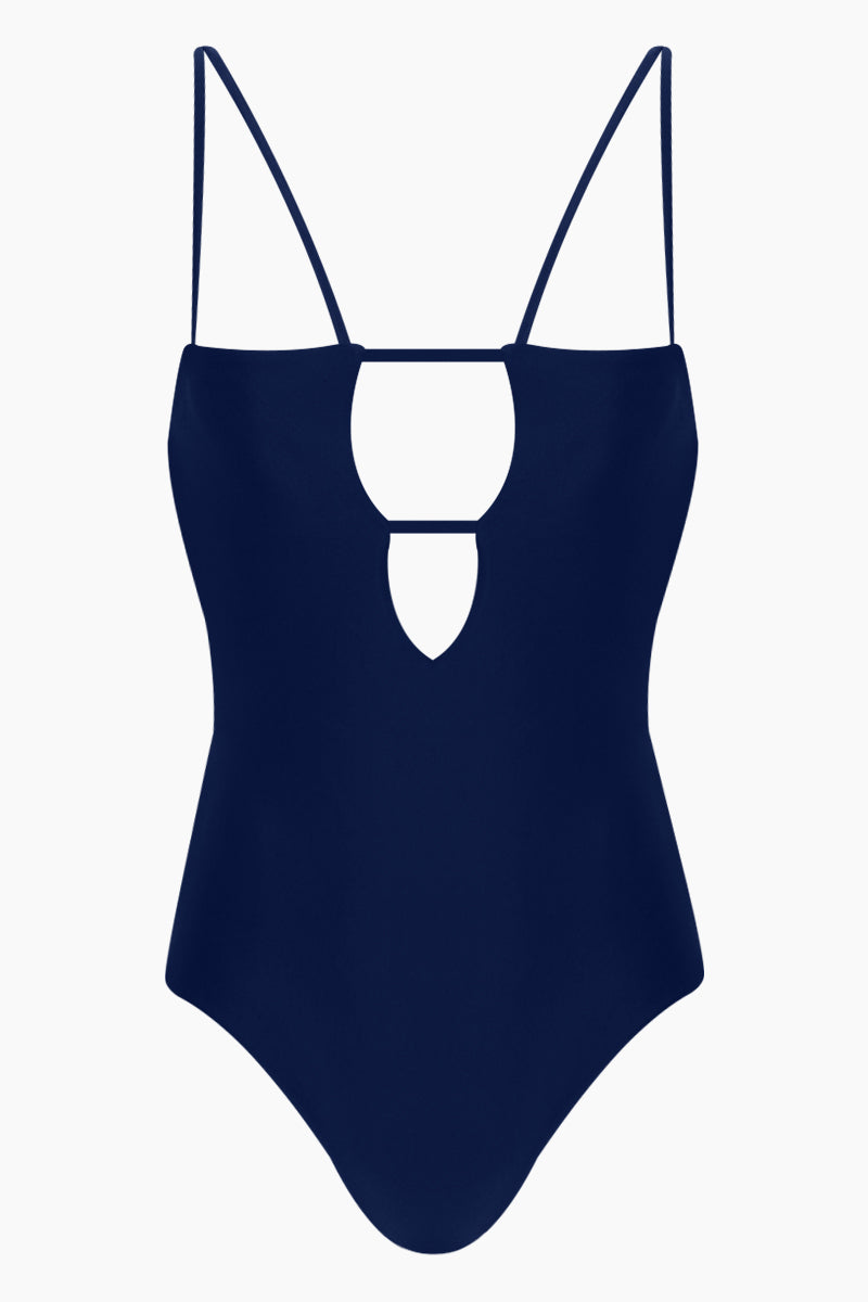Tali Front Cut-Outs One Piece Swimsuit - Navy Blue