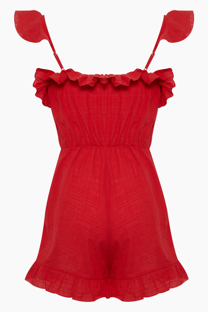Follina Ruffle Romper - Pepper Red