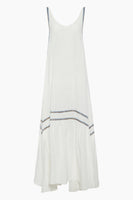 Tall Sexy Bateau Neck Round Neck Draped Embroidered Cotton Loose Fit Beach Dress/Maxi Dress With Ruffles