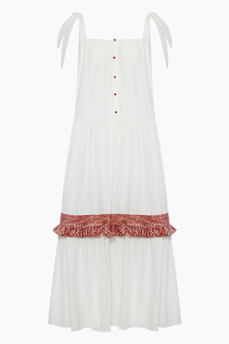 Bolkan Shoulder Tie Button Front Maxi Dress -  White & Jazzy Fringes Red