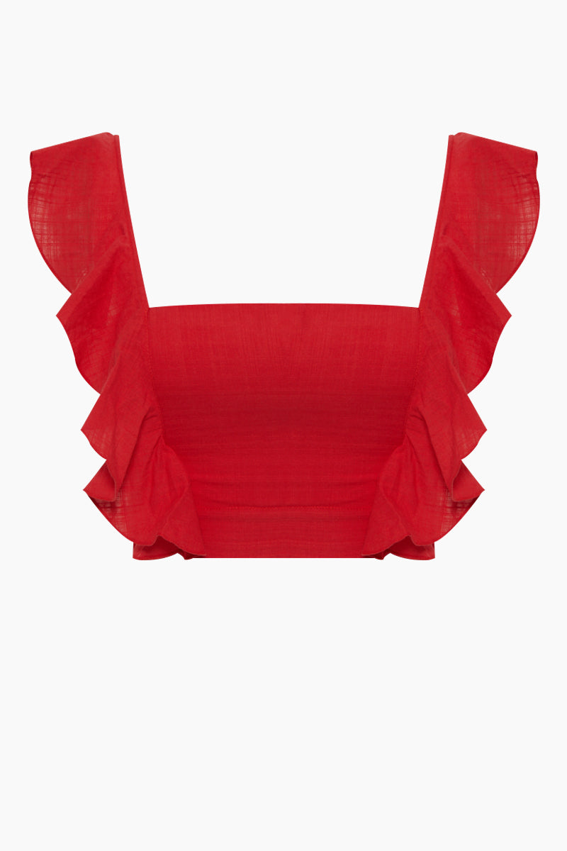 Lubba Cropped Blouse - Pepper Red