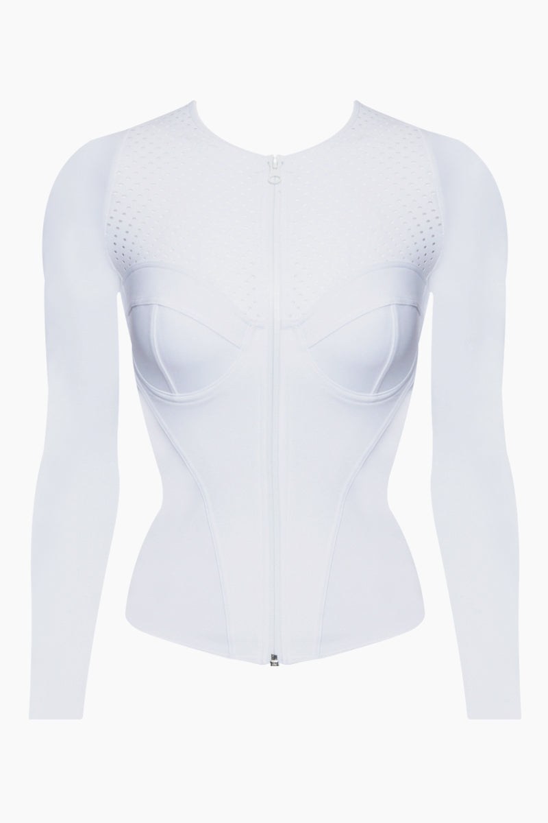 Long Sleeve Rashguard Bikini Top - Ursula White