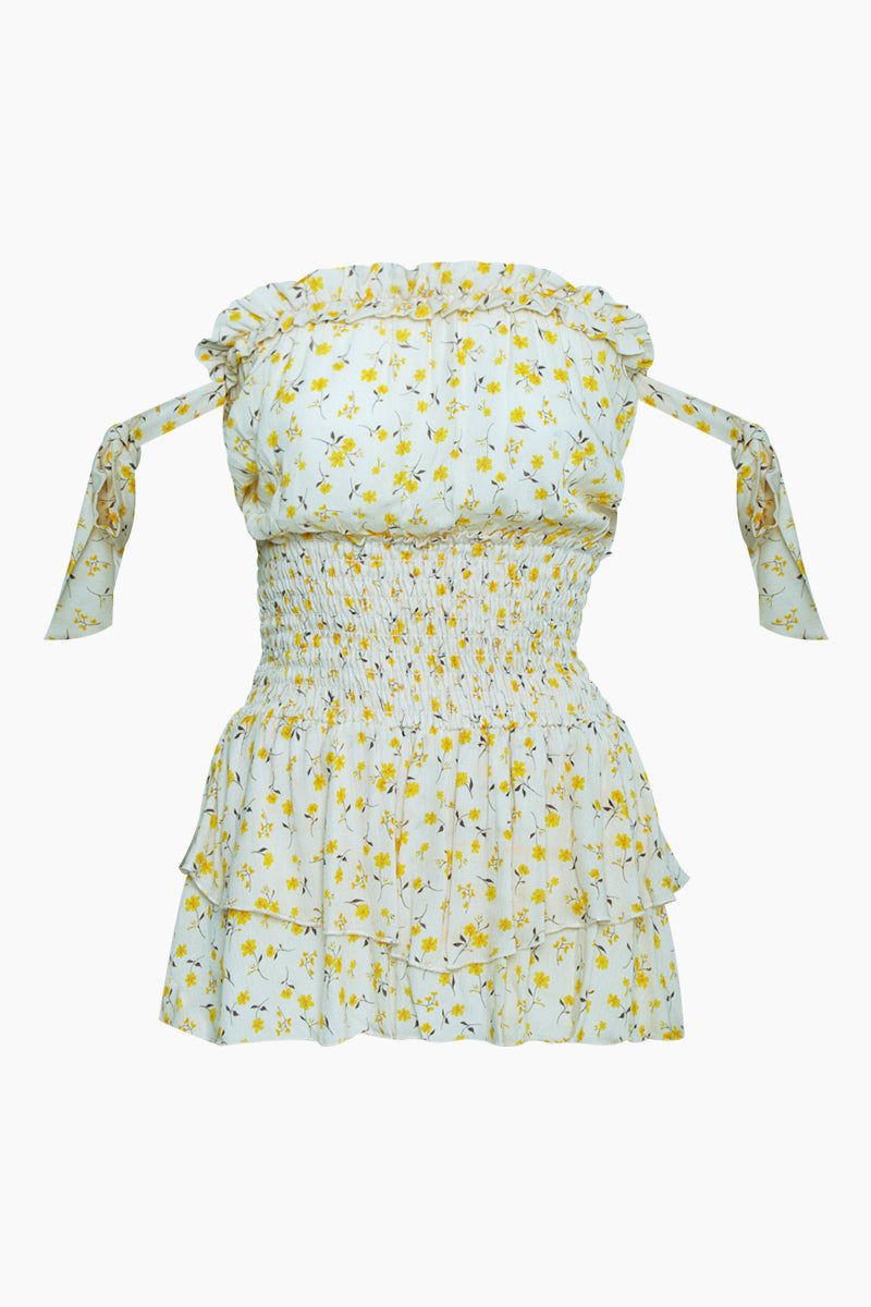 Ballerina Off The Shoulder Romper - Oopsie Daisy-Mellow Yellow Print