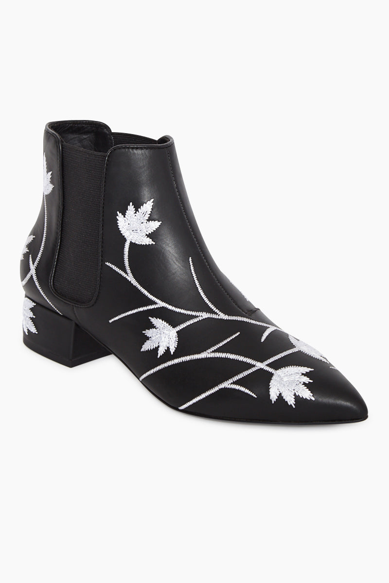 Kaia Embroidered Calf Booties - Ebony Black