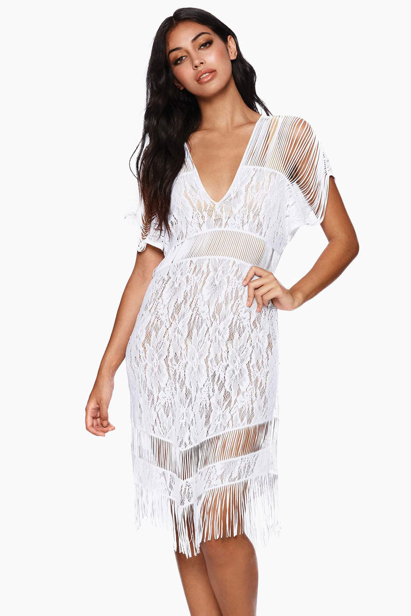 Indian Summer Lace Midi Dress - White