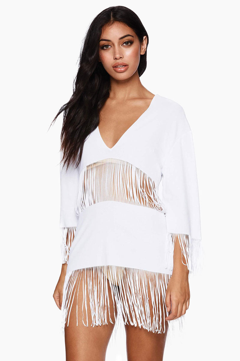 Indian Summer Fringe Tunic - White
