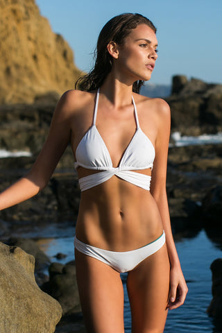 IPANEMA Reversible Thick Band Triangle Top Bikini Top | Seagull/White|
