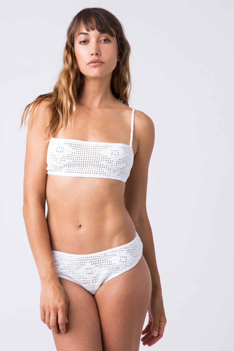 Isabel Crochet Top White 3 Isabel Crochet Bandeau Bikini Top 8211 White