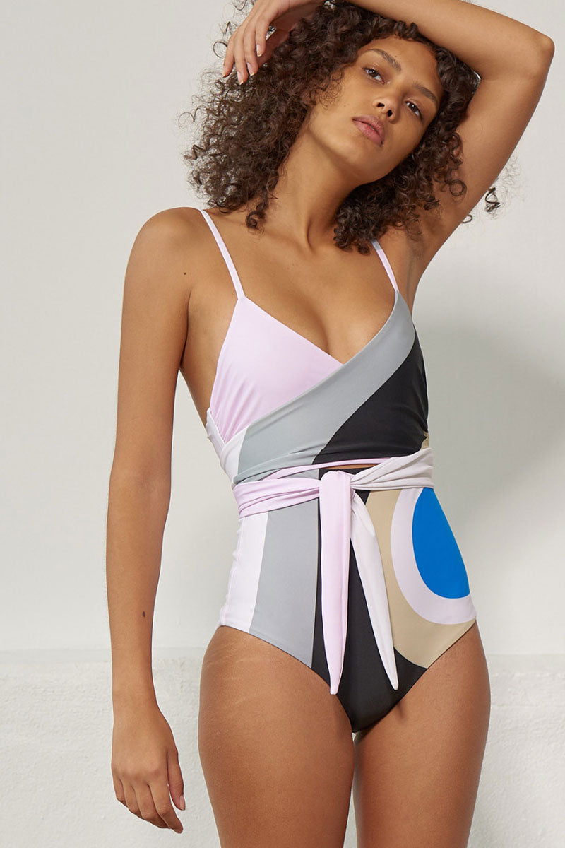 Isolde Wrap One Piece Swimsuit - Juniper Pastel Abstract Print