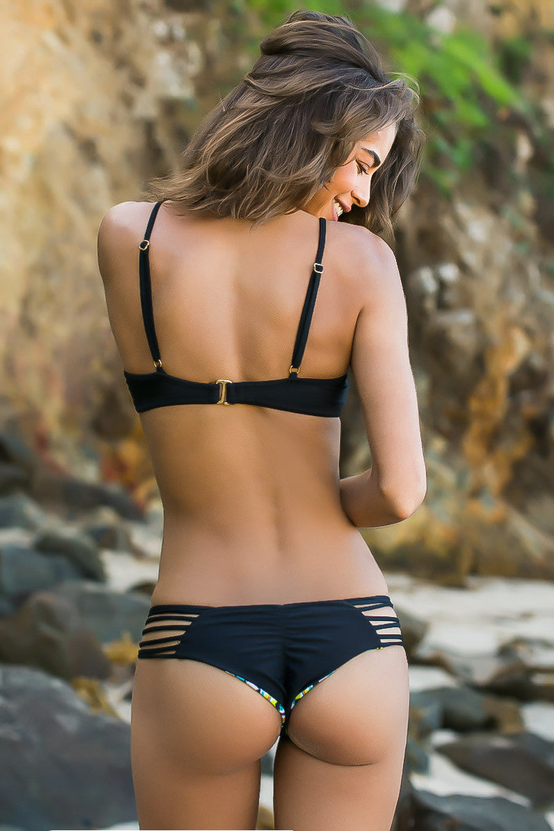 ISSA DE' MAR Sunset Reversible Bikini Bottom Bikini Bottom | Reversible Black/Tribal| Issa De' Mar Sunset Reversible Bikini Bottom| Rachel