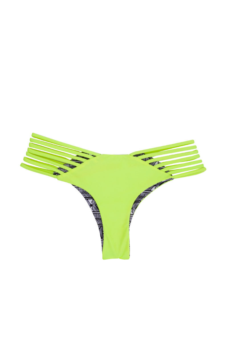 Sunset Reversible Strappy Brazilian Bikini Bottom - Neon/Shark