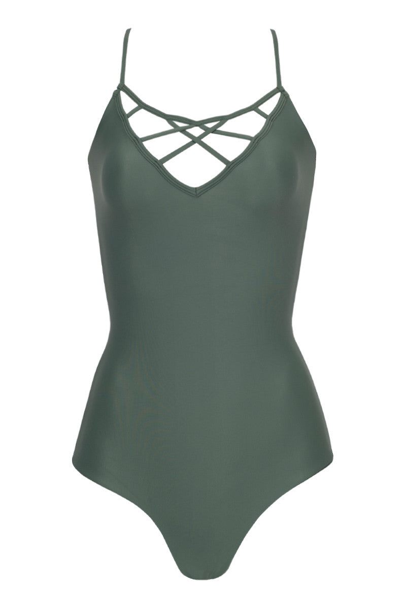 Sao Paulo Strappy Caged One Piece Swimsuit - Mauka Green