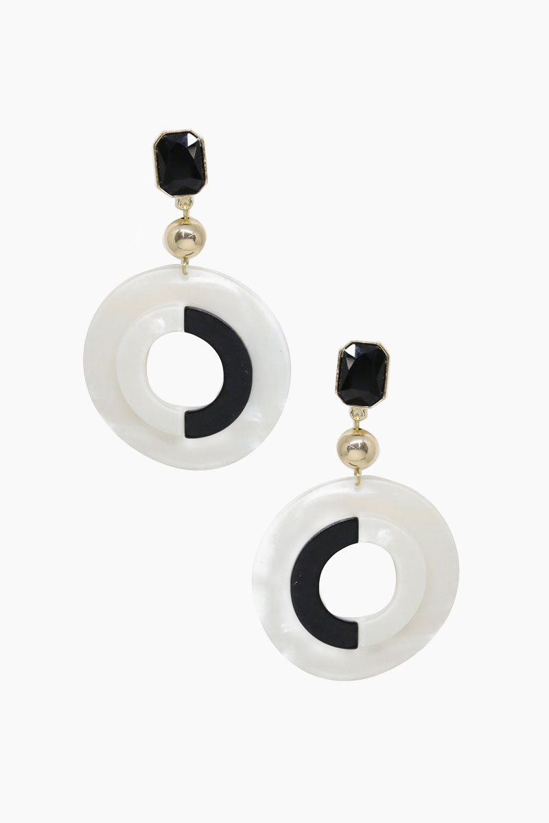It's All Black And White Earrings - Black & White