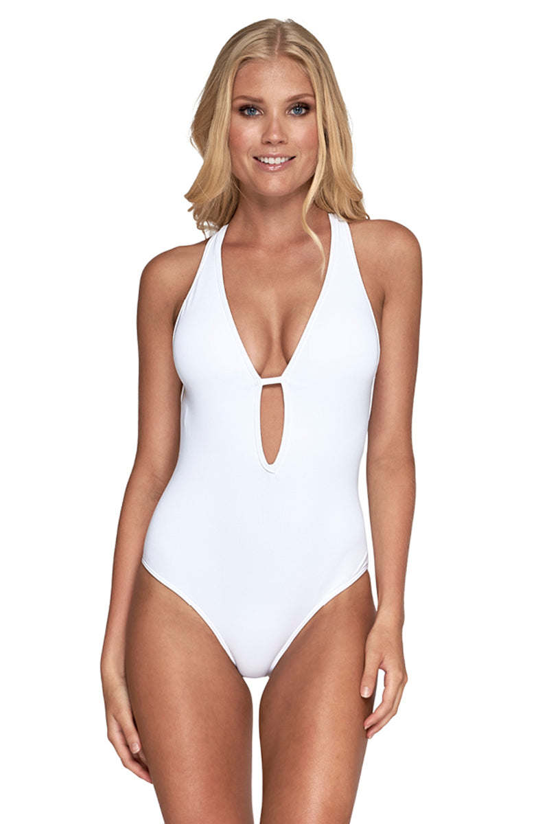Plunge One Piece Swimsuit - White