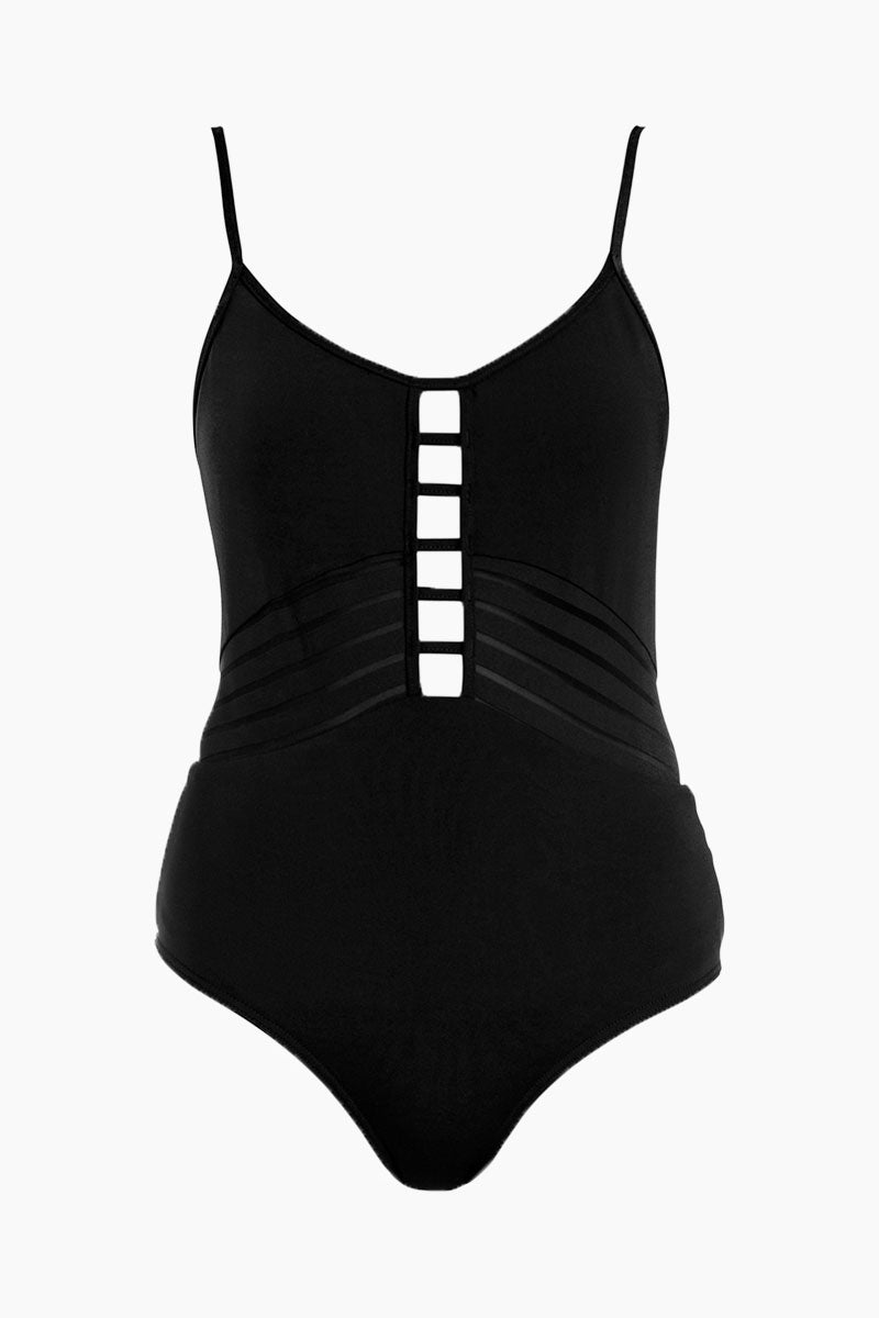 Tank Strappy Front One Piece Swimsuit - Black